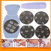 nagelsalon vorlagen großhandel-Großhandel-Neue Salon Express Pro Stamping Nail Art Set Kit Nail Art Vorlagen DIY Fingerschablone mit Platten Schaber