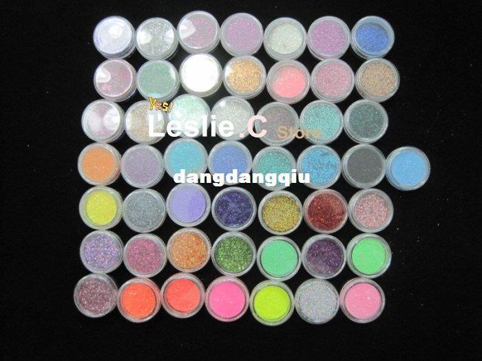Free shipping 50 COLOUR PARTY Nail Art Glitter Dust Eyeshadows BODY PIGMENT /hair Powder#UAG50