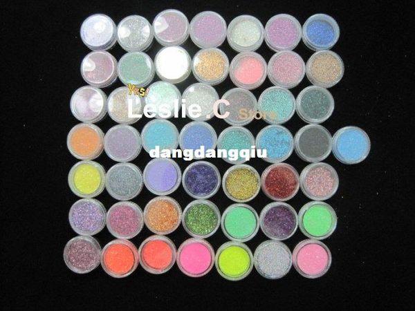 Frete grátis por atacado 50 COLOR PARTY Nail Art Glitter sombras de poeira PIGMENTO DO CORPO / pó de cabelo # UAG50