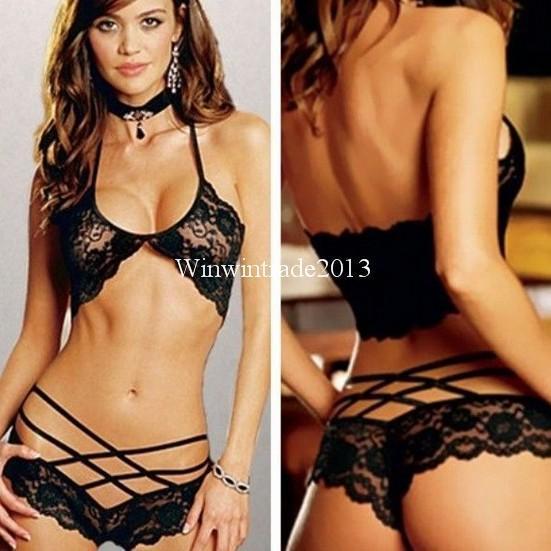 Women s intimates sexy lingerie Bra Sets lace Black rose pink white Halter  neck nightie nightdress uniform 28e5d101e