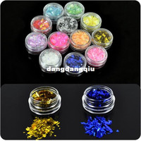 Wholesale Mylar For Nails - Wholesale-New 12 Colors Ice Mylar Nail Glitter For Acrylic   UV GEL Nail Art Decoration Wholesale Free Shipping