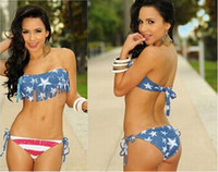 Sexy bikini women swimwear American flag lacing stripe summe...