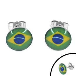 Wholesale Brazil Earrings - Free Shipping! Enamel Brazil Flag Earrings 2014 World Cup Brazil Stainless Steel Jewelry Motor Earring Studs SJE370081