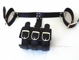 Wholesale Leather Slaves - gunine leather bondage restraints handcuffs arm binder bdsm sex toys for women slave trainer adult products black XLY718