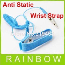 Wholesale Anti Static Band - Lowest Price 100pcs lot NEW Anti Static Antistatic ESD Adjustable Wrist Strap Band Grounding Blue