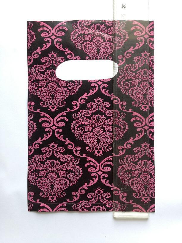 12.5 * 18.5 cm 100 stks / partij plastic boutique verpakking tas bloem feestelijke cadeau sieraden winkelcarrier handtas