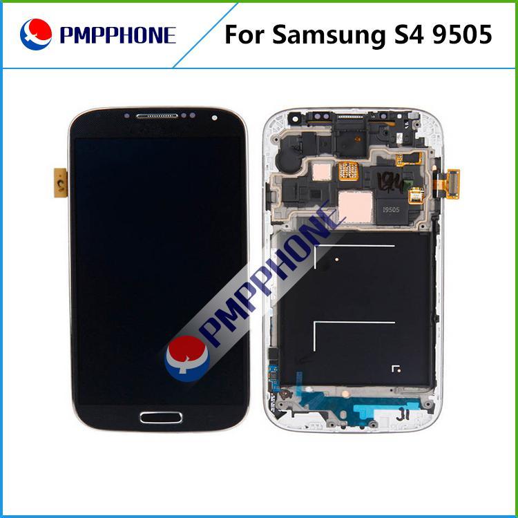 Samsung Galaxy S4 i9500 9505 I545 I337 Weiß und blau LCD Display Touchscreen Digitizer Assembly mit Rahmen mit schnellen Versand