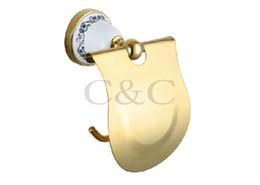 Wholesale Gold Bathroom Toilet Paper Holder - Toilet Roll Holder Noble And Elegant Solid Copper And Ceramic Gold Plating Bathroom Paper Holder 3312