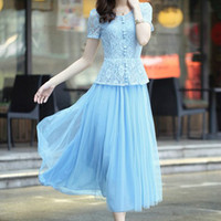 Wholesale Single Sexy White Lady - Women Maxi Fit and Flare Lace Long Dress White Black Pink Blue Ladies Sleeve Single Breasted Plus Size Formal Gown Party Wedding Sexy Sweet