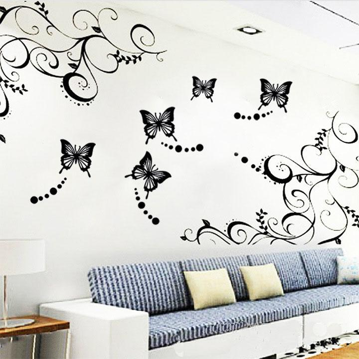 Butterfly Vine Flower Wall Art Stickers Decals Wall Paster House - Wall decals hd