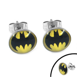 Wholesale Piercing Batman - Free shipping! Enamel Batman Earring Body Piercing Stainless Steel Jewelry Trendy Motor Earring Studs SJE370080-1