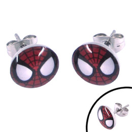 Wholesale Mask Piercing - Free shipping! Enamel Spiderman Mask Earring Body Piercing Stainless Steel Jewelry Trendy Motor Earring Studs SJE370068