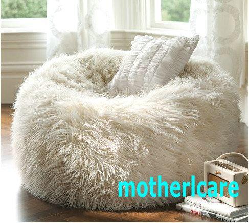 online cheap elegant oversized bean bagslong fur white beanbag loungersoft and stylish ultrafur bean bag white by motherlcare dhgatecom - Oversized Bean Bag Chairs