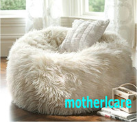 Wholesale ELEGANT oversized bean bags long fur white beanbag lounger Soft and stylish UltraFur bean bag WHITE