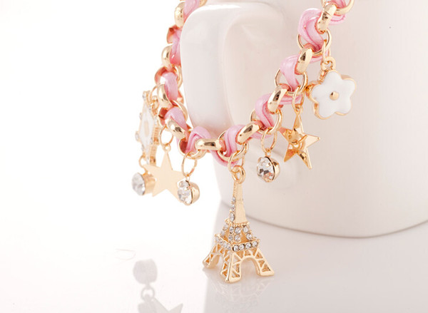 idealway New Fashion Braid Leder Eiffelturm Sterne Strass Leder Charme Armbänder Armreifen für Frauen Damen Freies Verschiffen Geschenk