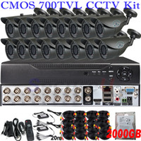 Wholesale Hard Disk Cctv System Hdd - 16ch cctv security kit complete surveillance monitor system 16ch D1 HD DVR HDMI network digital video recorder 2TB HDD hard disk