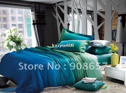 Wholesale Quilt Queen Blue - new 500 thread count blue green omber color pattern 100% cotton bedding duvet covers sets 4pcs for full queen comforter quilt #mc