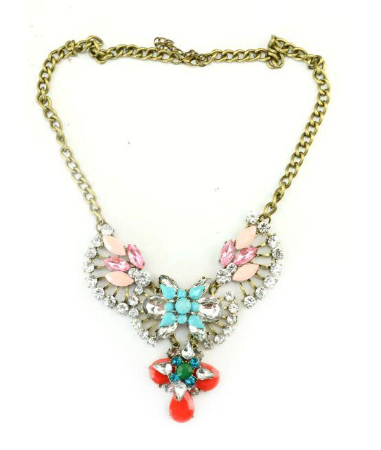 New Vintage Style Clear Crystal rhinestone Leaves Flower rose resin gem drop Pendant Necklace