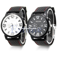 Wholesale Aviator Watch Bands - Wholesale-Men Military Army Pilot Aviator Rubber Band Outdoor Sports Wrist Watch 2 Colors