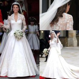 Wholesale Bridal Dress Kate - 2014 V Neck long Sleeves Satin Kate Middleton Wedding Dresses A line Appliques Royal train bridal Gowns