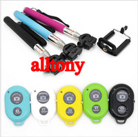 Wholesale Stainless Steel Smartphone - Z07 3 in 1 Mini Folding Bluetooth Self timer Monopod selfie stick Remote Shutter holder for Iphone 6 6plus ios Android SAMSUNG smartPhone