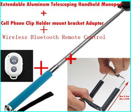 Wholesale Clip Timer Wholesale - Remote Control Bluetooth Remote Camera Control Self-timer Shutter + Phone Clip + Camera Monopod For iPhone Samsung Android IOS free shipping