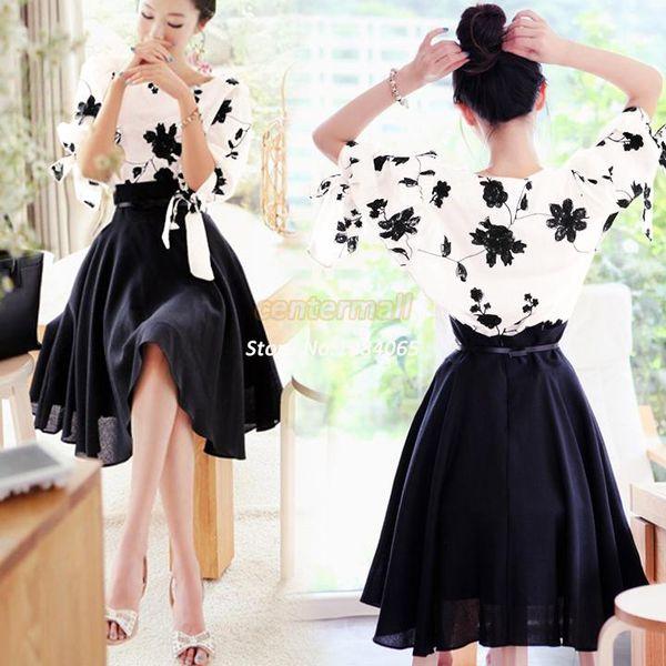 35649774d Compre 2014 Nueva Casual Diseño Elegante Mujeres 2 Falda Conjunto Piezas  Sueltas Camisa Tops Falda Blusa Vestido Falda B6 SV001559 A $30.31 Del ...
