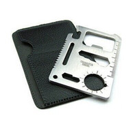 Wholesale steel survival card - 50pc lot 11 in 1 Pocket Multifunction Multi Credit Card Survival Knife Camping Tool