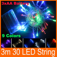 Wholesale String Led Lights Outdoor Wedding - Outdoor Indoor Holiday 3M 30 LED 9 colors choose LED String Lights 3X AA Battery Operated Christmas New Year Wedding Decorations For Garden