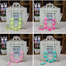 Wholesale Princess Set - South Korea's new children's baby necklace bracelet candy color jewelry The princess sweater chain accessories