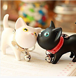 Cat Lover Keychains Canada - New Lovers Styles Souvenirs Wedding Keychains Cute Meow Cat Doll Key Chain PVC Fashion Gift Key Ring 2pcs lot
