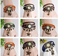 Wholesale owl dress blue - 100pcs Leather Vintage Fashion Women Bracelet Watch Retro Watch Hot styles Butterfly Leaf Owl models Quartz Dress Ladies Watches