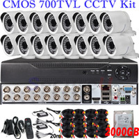 Wholesale Hard Disk Camera Security System - Dropshiping wholesale 16ch cctv DVR kits security surveillance system wide angle hd indoor outdoor camera with 2TB HDD hard disk