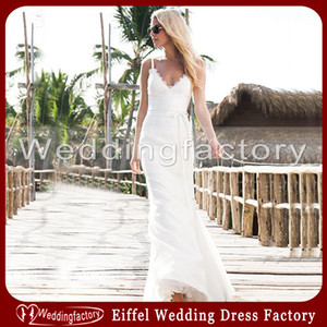 Wholesale Newest Beach Casual White Wedding Dresses Sheath Spaghetti Straps Lace Chiffon Low Back Full Length Bridal Gowns