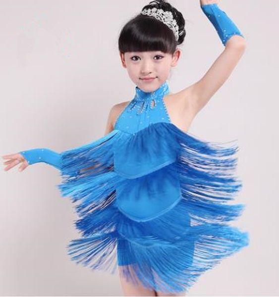 top popular Girl Latin Dance Dress New Kids Children's Latin dance costumes high-grade spandex bright fringe Tassel performances skirt 2019