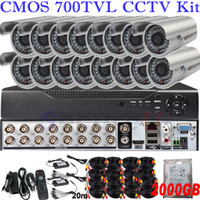 Wholesale Dvr Security Camera System Cheap - New cheap Dropshiping wholesale 16ch cctv DVR kits security surveillance system wide angle hd indoor outdoor camera with 2TB HDD hard disk