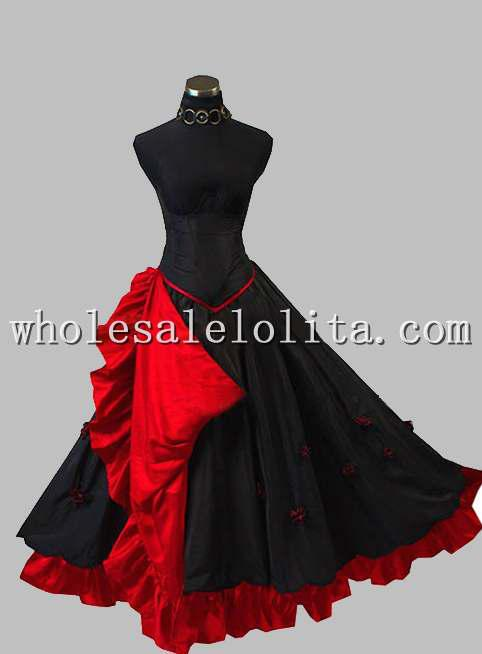 Gothic Black And Red Sleeveless Princess Long Dress With Corset Prom ...