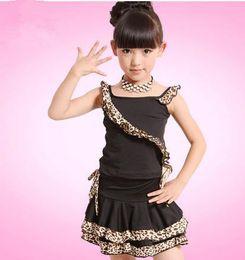 Wholesale Kids Dance Latin Skirt - NEW Girl Latin Dance Dress Kids Children's Latin dance costumes sets Suits leopard grain performances skirt