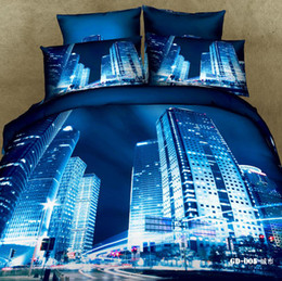 Wholesale Cotton Reactive Bedding Set - 3D Bedding Sets Modern City Reactive Printing Comforter Set Duvet Cases Pillow Covers Flat Bed Sheet 100% Cotton Fabric Bed In A Bag