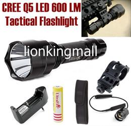 2019 led-scheinwerfer fernschalter USA EU Hot Sel C8 5-Modus Cree Q5 LED Spotlight Jagd Taktische Taschenlampe Taschenlampe + Halterung / Fernschalter / 18650 Akku / Ladegerät / Holster günstig led-scheinwerfer fernschalter