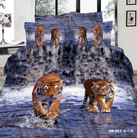 Wholesale Tiger Print Comforter Set King - Tiger King Comforter Sets 3D Bedding Set Pillow Covers Duvet Cases Flat Bed Sheet 100% Cotton Fabric High Quality Bed In A Bag Hot Sale