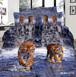 Wholesale Tiger Print Bedding Queen - Tiger King Comforter Sets 3D Bedding Set Pillow Covers Duvet Cases Flat Bed Sheet 100% Cotton Fabric High Quality Bed In A Bag Hot Sale