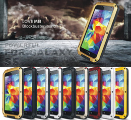Wholesale Gorilla Glass For S4 Galaxy - LOVE MEI Metal Aluminum Waterproof Shockproof Dirtproof Heavy Duty Case Cover Gorilla Glass for Samsung galaxy S5 I9600 S4 I9500 Retail Box