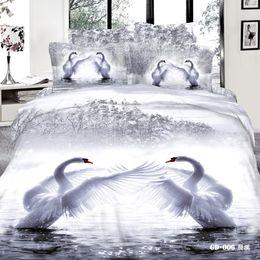 Set di cotone cigno set 3d online-Swan 3D Reactive Printing Bedding Set 100% Cotone Quattro Pezzi Trapunta Copripiumino Lenzuolo Federa Set Comforter