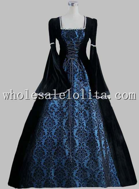 19th Century Gothic Black And Blue Print Elegant Victorian Ball Gown ...