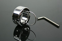 Wholesale Male Chasity Rings - Adult Sex Scrotum Bondage Ball Stretcher Stainless Steel Metal Chasity Device Chastity Ring cock ring For Him JDA086