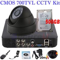 Wholesale Mini Bullet Camera System - Free shipping 700TVL indoor dome camera surveillance monitor system ir night vision 4ch mini DVR network digital video recorder