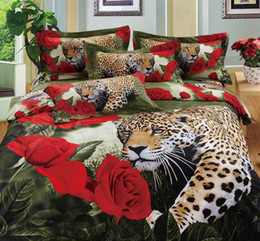 Wholesale Cotton Leopard Print Queen Bedding - Leopard And Rose 3D Bedding Sets Comforter Set 100% Cotton Fabric Home Textiles Duvet Covers Pillow Cases Flat Bed Sheet Cheap In Stock