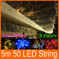 Wholesale Twinkle Lights Sale - HOT SALE Colorful 50 LEDS 5M Xmas Christmas Party String Light bulb Battery Operated twinkling 9 colors New Year Wedding Decorations