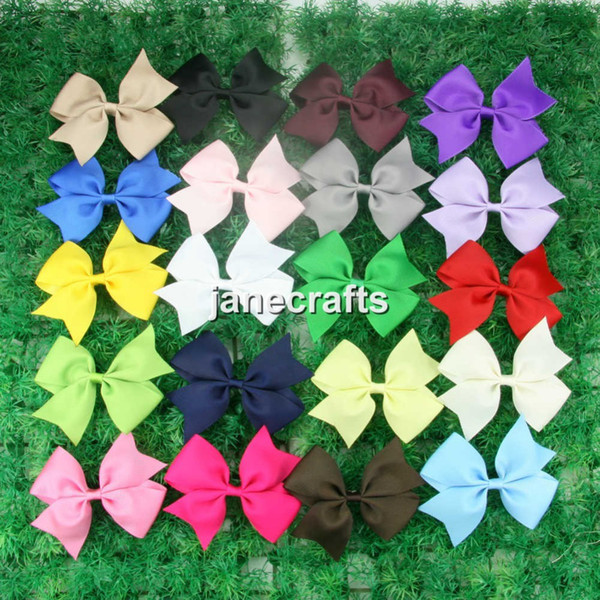 "20pcs 4"" Boutique Hair Bow Clips Girls Baby Kids Grosgrain Ribbon Hairbow Hair Clips Children Hair Accessories Mix 20 Colors"